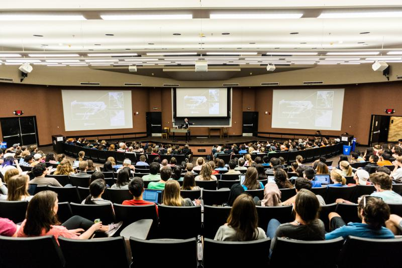 College students listen to a lecture at the University of Texas at Austin in April 2016.