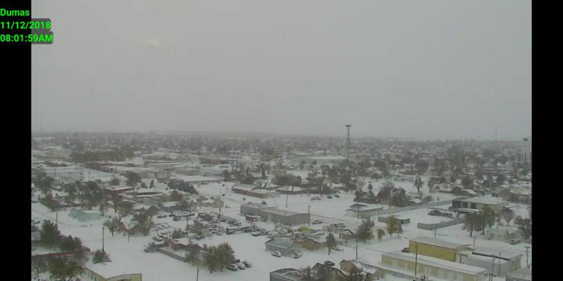 The Amarillo ABC affiliate's remote camera in Dumas, Texas, north of Amarillo, caught the West Texas snowfall that closed area schools.