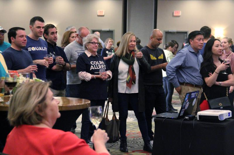 Supporters of Democrat Colin Allred attend a watch party at the Magnolia Hotel Dallas Park Cities.