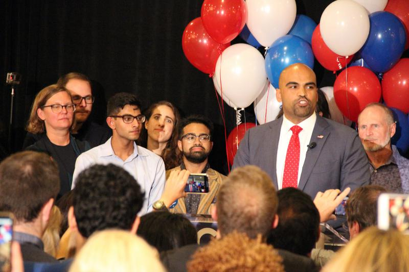 Democrat Colin Allred addresses supporters at the Magnolia Hotel Dallas Park Cities. Allred won the U.S. House District 32 race, defeating Republican incumbent Pete Sessions.
