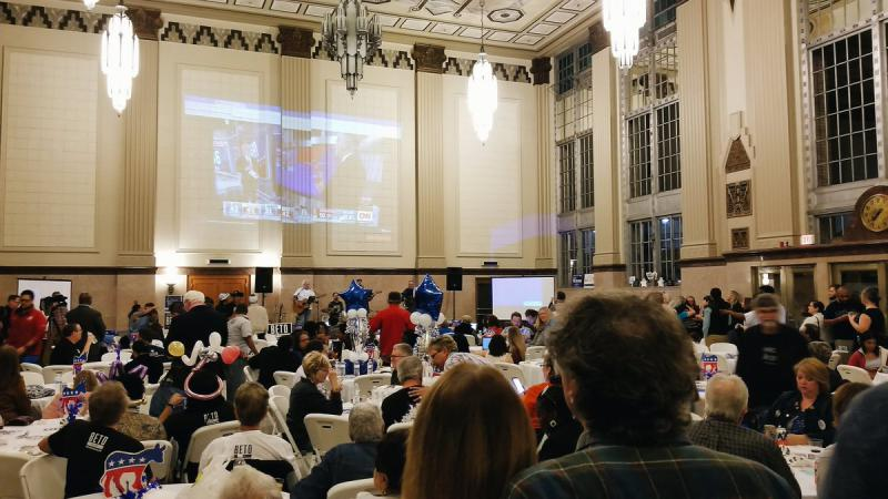 A scene from the Tarrant County Democratic Party election night gathering in downtown Fort Worth.