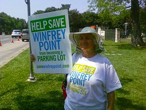 Rosie Wallin was among protesters opposed to White Rock parking.