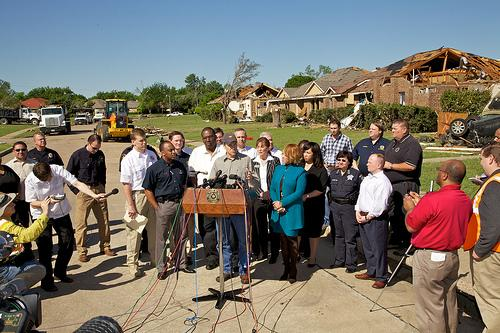 Governor Rick Perry speaks at a press conference in Lancaster after touring tornado damage.