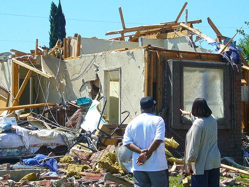 Damage to a home following the tornado that struck Dallas