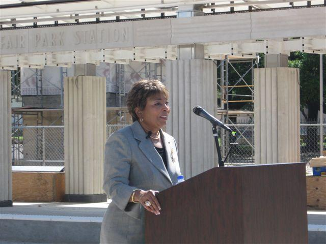 Eddie Bernice Johnson speaks at the Fair Park DART Station.