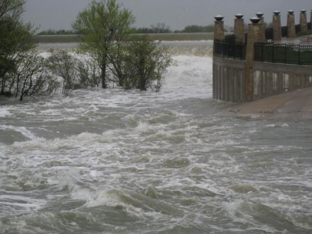 Fast-moving storm water at the White Rock Lake spillway.