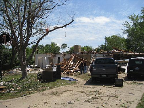 A destroyed home in Arlington