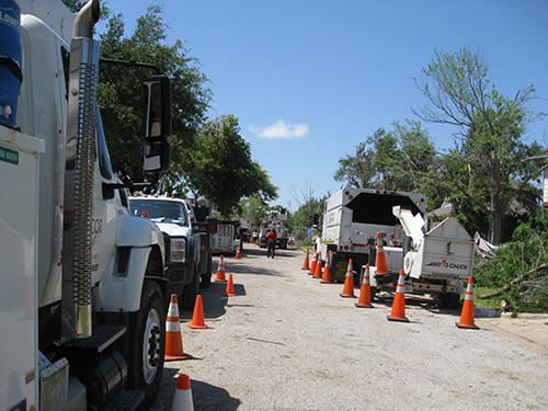 Endless line of utility trucks
