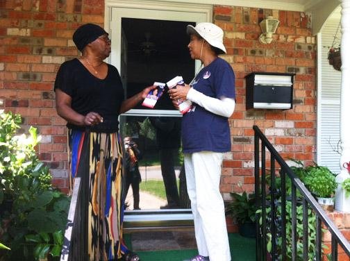 Barbara Mallory Caraway on a block walk in Oak Cliff.