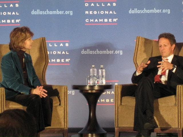Lee Cullum Interviewing United States Treasury Secretarty Timothy Geithner at Dallas Chamber Event