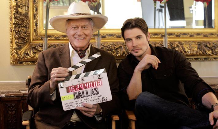 Larry Hagman and Josh Henderson pose on the set of 'Dallas.'