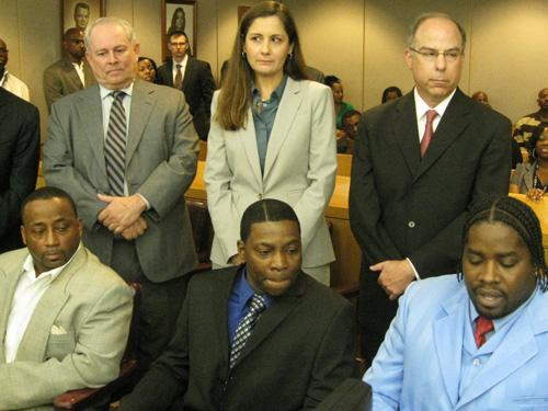 standing (from our left to right) - Shakara's Attorney, Tracey Cobb, Gary Udashen. Seated - Shakara Robertson, Darryl Washington, Marcus Smith