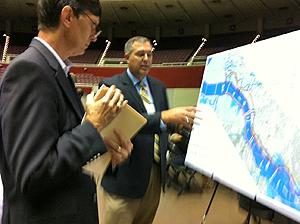Trinity Parkway officials answered citizen questions prior to a public hearing.
