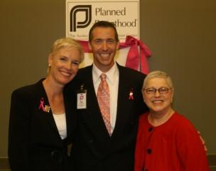 From left to right, Cecile Richards, PPFA president, Ken Lambrecht, proposed CEO of Planned Parenthood Of Greater Texas, and Glenda Parks, former CEO of PPTCR