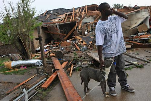 This man's dogs survived even though they were outside when his house was totaled.