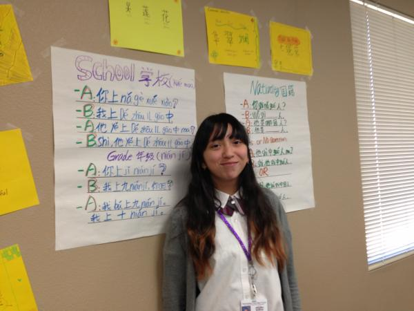 Ninth-grader Alex Gutierrez is learning Mandarin Chinese at International Leadership of Texas in Garland. The school requires that all students learn Mandarin and Spanish.