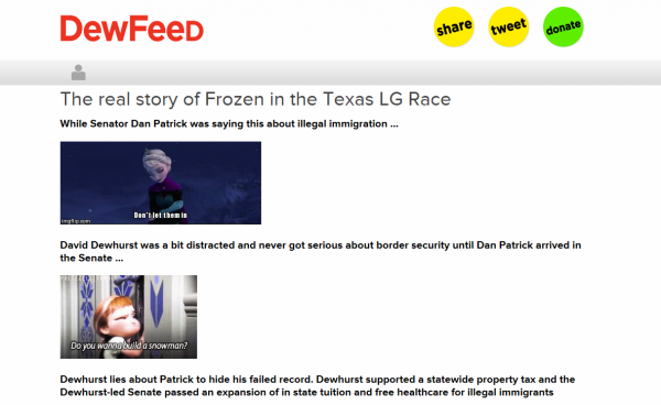 Dan Patrick's campaign responded with a BuzzFeed-style posting on its DewFeed website.