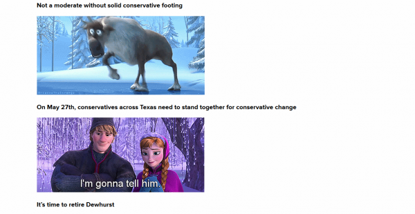 """Here's an excerpt from the """"Frozen""""-themed attack ad, animated GIF style."""