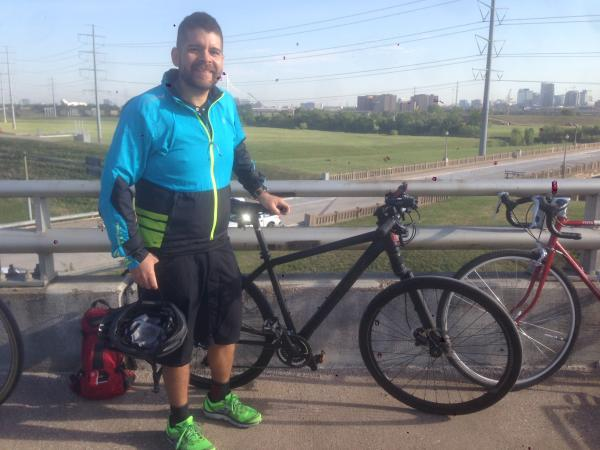 Angel Martinez was among the participants in National Bike to Work Day.