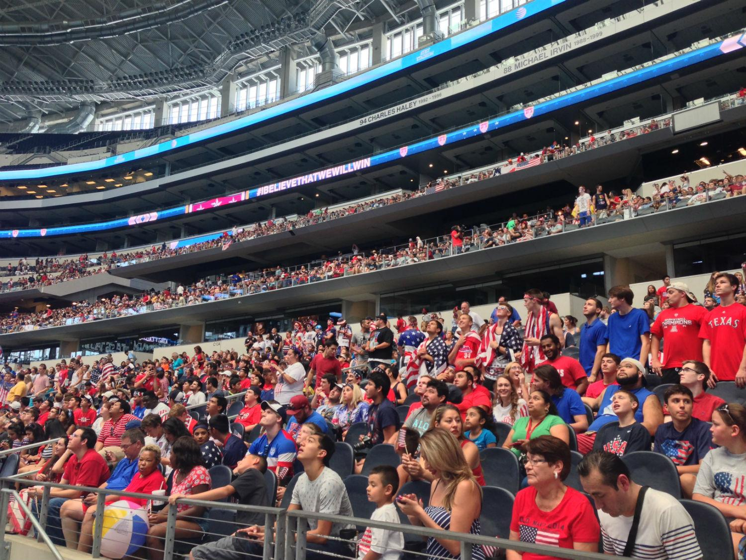 Across north texas soccer fans cheer on world cup teams for Dining options at at t stadium
