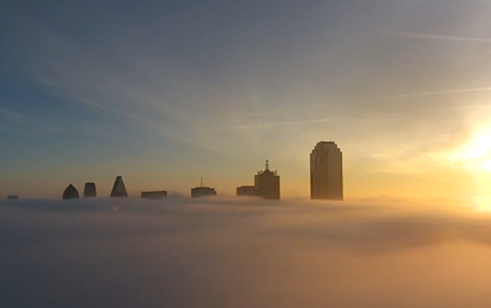 video  take a stunning look at downtown dallas above the fog