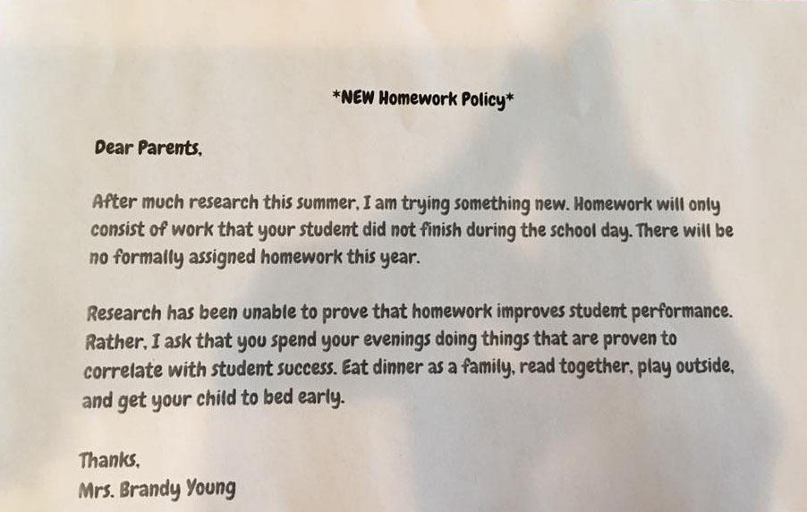 Texas teacher decides to do away with homework