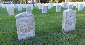 Gravestones at Arlington National Cemetery, Louisiana.