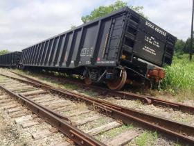 Four boxcars were derailed after being unhinged from a train between Knight and Sycamore Streets in Commerce.