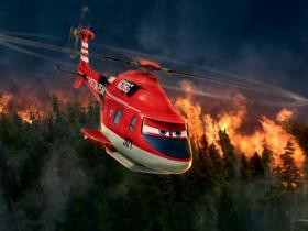 """Blade Ranger (voiced by Ed Harris) fights the blaze on 'Piston Peak' in the new movie """"Planes: Fire and Rescue""""."""