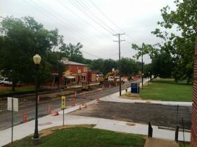 A gas line was struck on Monroe Street in Commerce during the late morning of July 21. University staff in the immediate area were cleared from nearby buildings until repairs were made.
