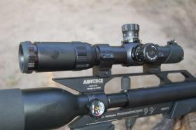 This rugged, compact scope by Sun Optics assures tack driving accuracy from Luke's .25 caliber air rifle.