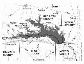 Most of the proposed Marvin Nichols Reservoir would exist in Red River County.
