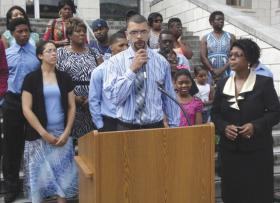 "Curtis Gray Jr. spoke Thursday morning at a press conference in front of the Hunt County Courthouse, which had been scheduled by the Greenville Branch of the NAACP, involving the investigation into the July 30 shooting death of Gray's father, Curtis Wayne ""Topper"" Gray Sr."