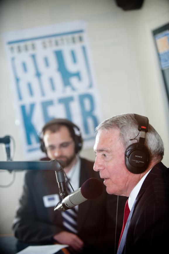 Iconic newsman Dan Rather fields pointed questions from KETR's Scott Harvey.