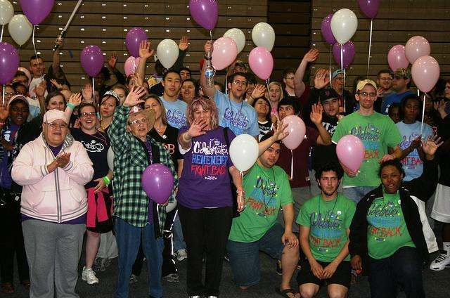 Participants celebrate during the 2012 Relay for Life in Commerce