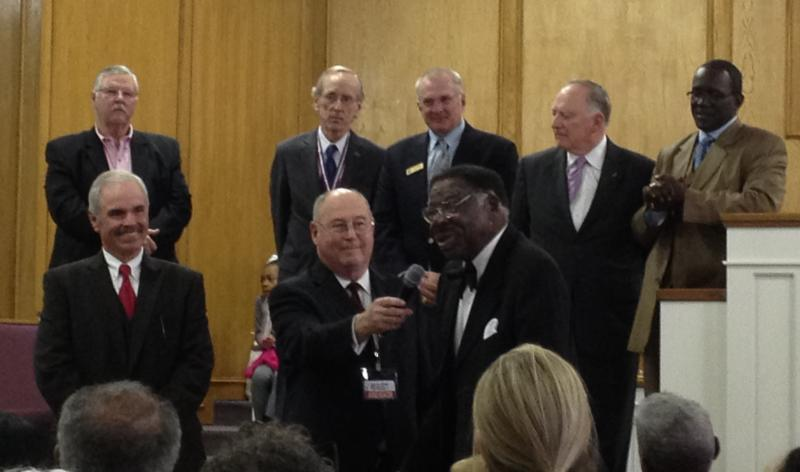 Iovry Moore addresses the audience after receiving the Legacy of King Award Sunday.