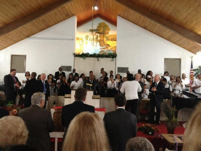 Dozens gather at Morning Chapel Missionary Baptist Church in Sulphur Springs for Monday's awards ceremony.