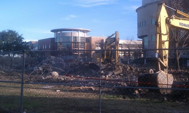 Crews continue demolition on the old Music Building a week ahead of the start of the spring semester.