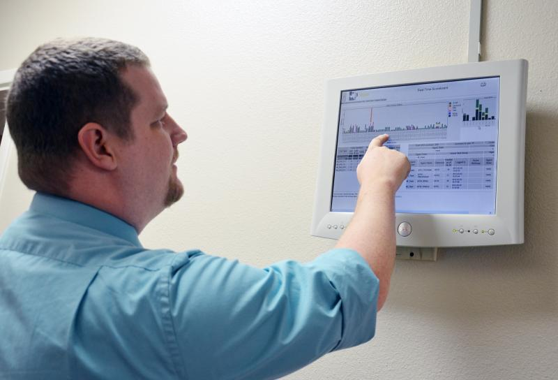 A computer monitor, referenced by Executive Director Adam Teer, displays data from all the 211 call centers in Texas and is one the newest pieces of technology used by 211 Texas.
