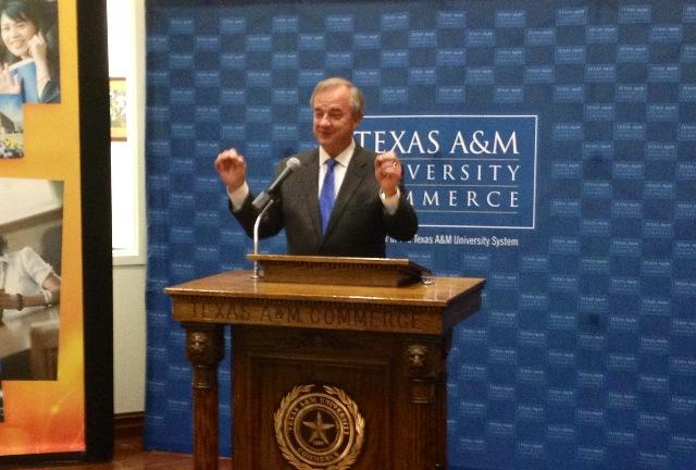 Chancellor Sharp during a February address at A&M-Commerce