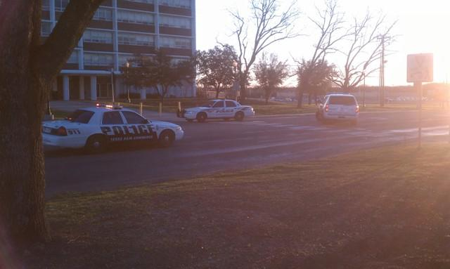 Commerce Police clear the area where an individual was hit Friday afternoon in front of Whitley Hall.