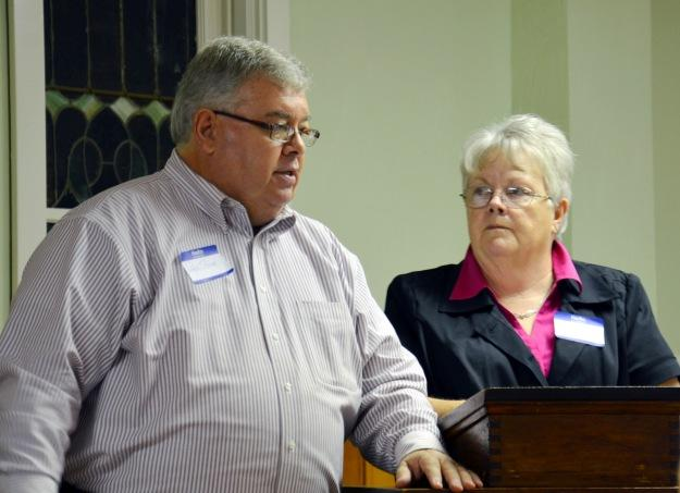 First United Methodist Church Pastor Steve Cook introduces and shows appreciation for Tina Overman of the Hope House.