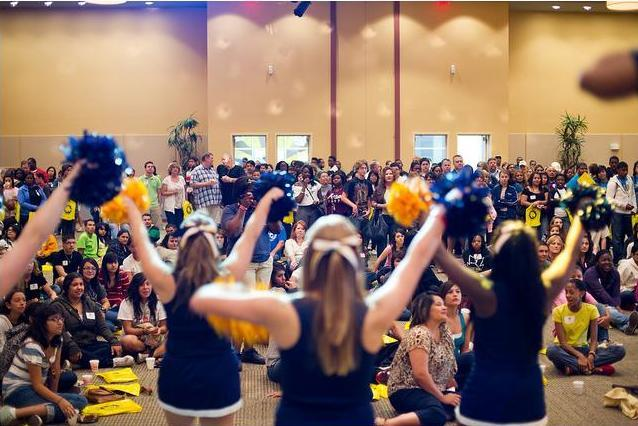 A&M-Commerce Cheerleaders show their school spirit in front of hundreds during opening ceremonies at the Fall 2011 Mane Event Preview Day.