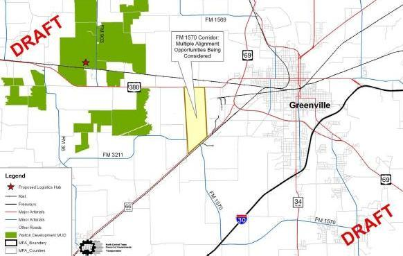 A map presented at January public forums shows the layout of some draft options for Hunt County transportation improvements.
