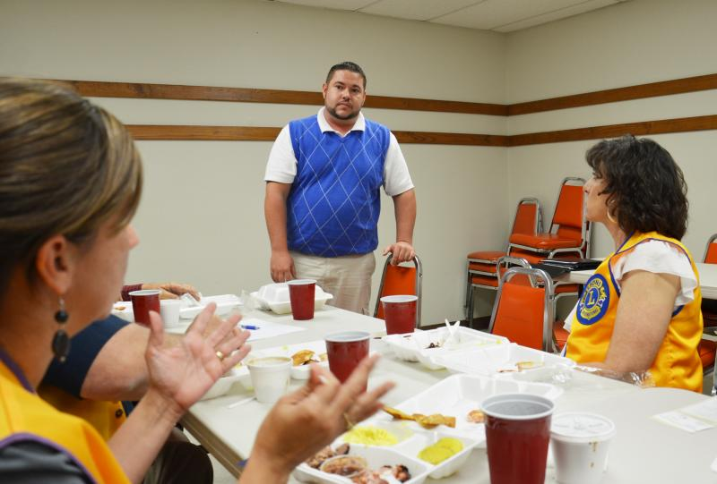 Clint Hocutt fields questions from Lions Club members on Friday, May 18.