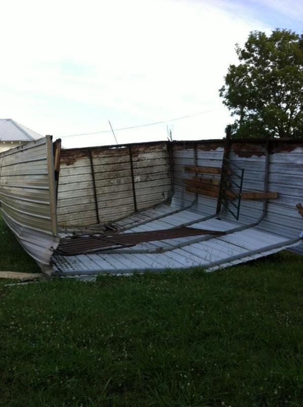 Residents living near the intersection of State Highways 24 and 19 saw high winds creating addition damage to barns. No injuries were reported from last night's storm.
