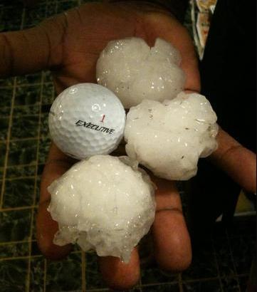 This image compares the size of hail received in North Texas Wednesday to that of a golf ball