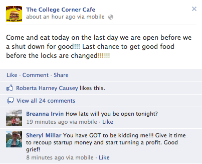 A facebook post from the College Corner Cafe on Sunday, June 3rd, 2012.