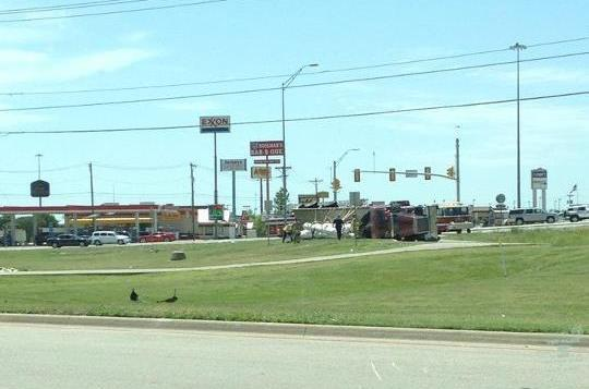 Overturned tractor-trailer at I-30 and highway 34/Wesley Street in Greenville on 6-1-12.