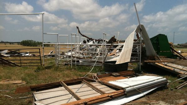 Storm damage near Leonard, TX